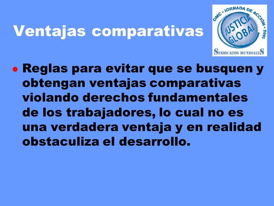 Ventajas comparativas l Reglas para evitar que se busquen y obtengan ventajas comparativas violando derechos fundamentales de los trabajadores, lo cual no es una verdadera ventaja y en realidad obstaculiza el desarrollo.
