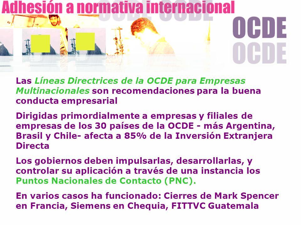 Las Líneas Directrices de la OCDE para Empresas Multinacionales son recomendaciones para la buena conducta empresarial Dirigidas primordialmente a emp