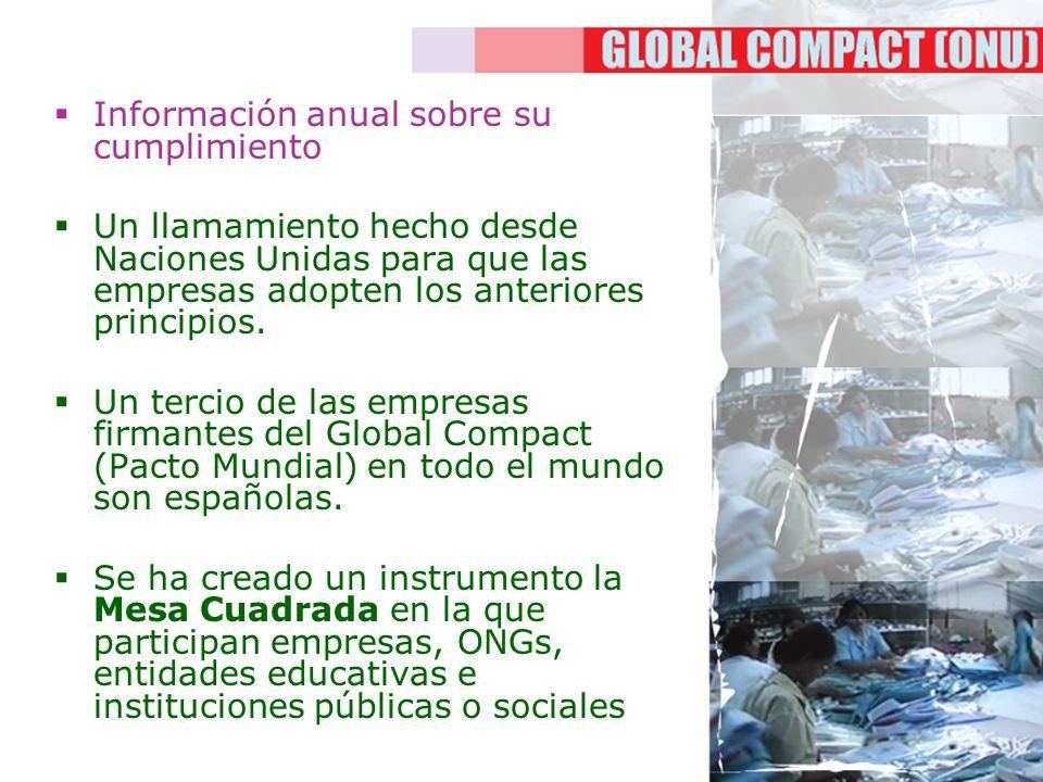 Información anual sobre su cumplimiento Un llamamiento hecho desde Naciones Unidas para que las empresas adopten los anteriores principios. Un tercio