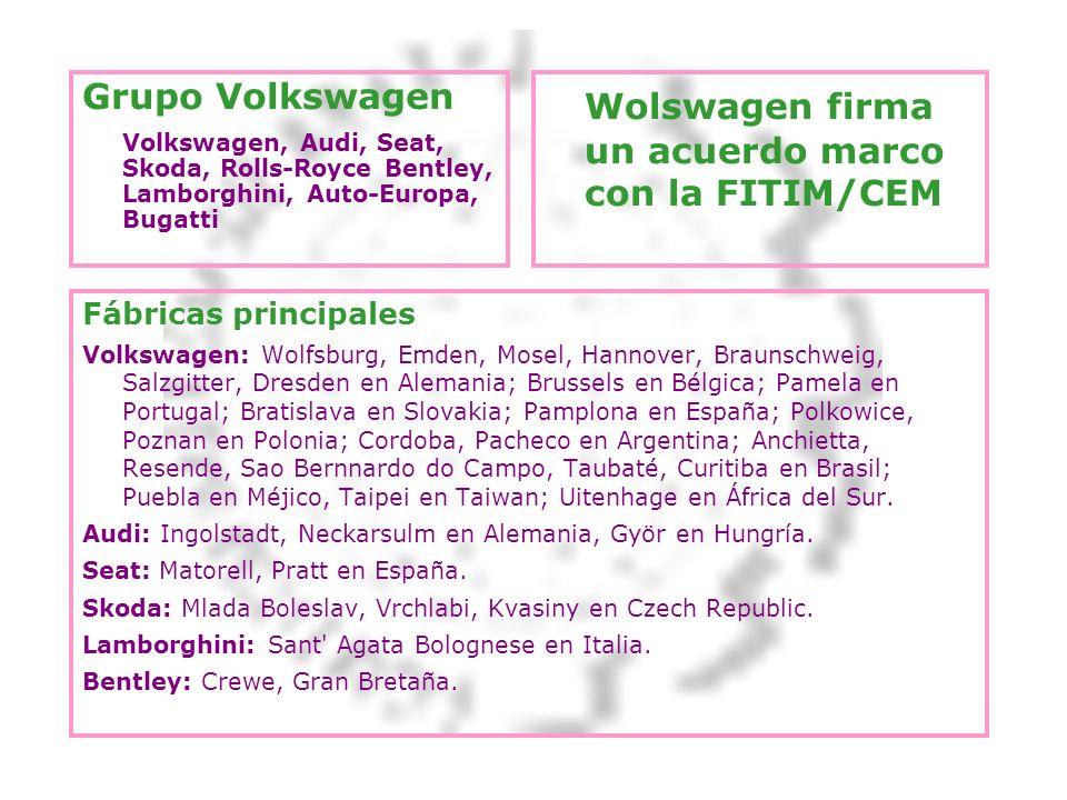 Grupo Volkswagen Volkswagen, Audi, Seat, Skoda, Rolls-Royce Bentley, Lamborghini, Auto-Europa, Bugatti Wolswagen firma un acuerdo marco con la FITIM/C