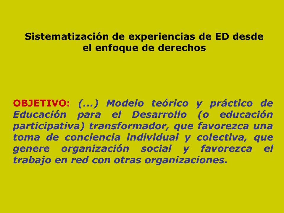 Sistematización de experiencias de ED desde el enfoque de derechos OBJETO: La segunda fase de la campaña Observatorio del Trabajo en la Globalización (OTG) OBJETIVO: (...) Modelo teórico y práctico de Educación para el Desarrollo (o educación participativa) transformador, que favorezca una toma de conciencia individual y colectiva, que genere organización social y favorezca el trabajo en red con otras organizaciones.