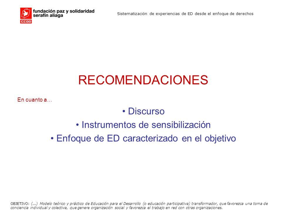 Sistematización de experiencias de ED desde el enfoque de derechos RECOMENDACIONES En cuanto a… Discurso Instrumentos de sensibilización Enfoque de ED