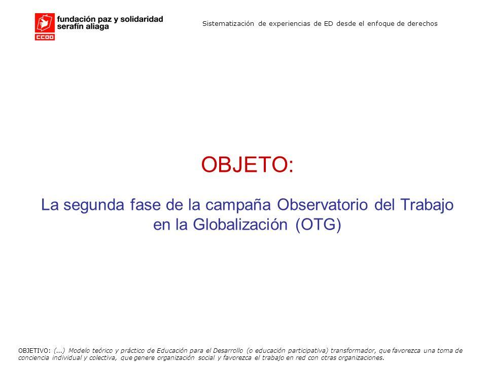 Sistematización de experiencias de ED desde el enfoque de derechos OBJETO: La segunda fase de la campaña Observatorio del Trabajo en la Globalización
