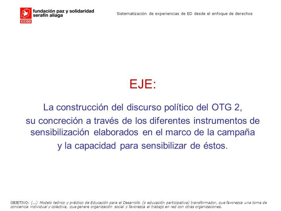Sistematización de experiencias de ED desde el enfoque de derechos EJE: La construcción del discurso político del OTG 2, su concreción a través de los