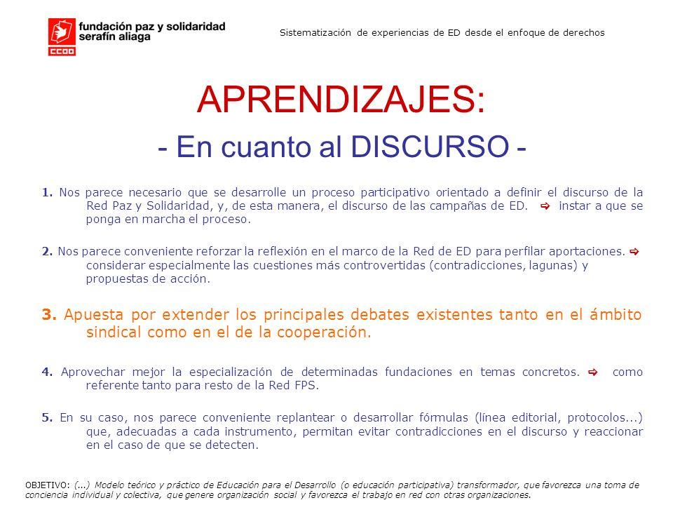 Sistematización de experiencias de ED desde el enfoque de derechos RECOMENDACIONES: - En cuanto al DISCURSO - 4.