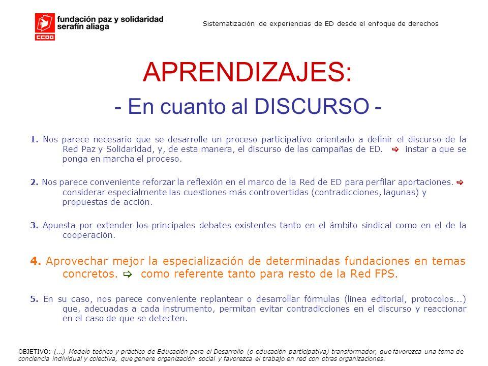 Sistematización de experiencias de ED desde el enfoque de derechos RECOMENDACIONES: -En cuanto a los Instrumentos de sensibilización- 7.
