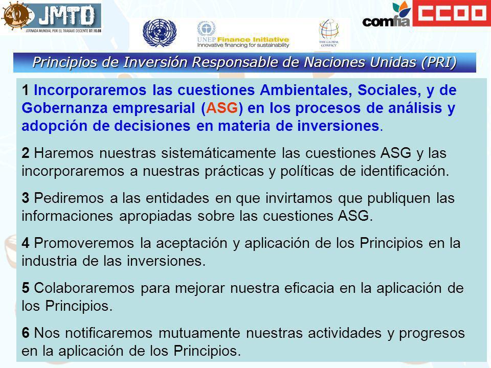1 Incorporaremos las cuestiones Ambientales, Sociales, y de Gobernanza empresarial (ASG) en los procesos de análisis y adopción de decisiones en mater