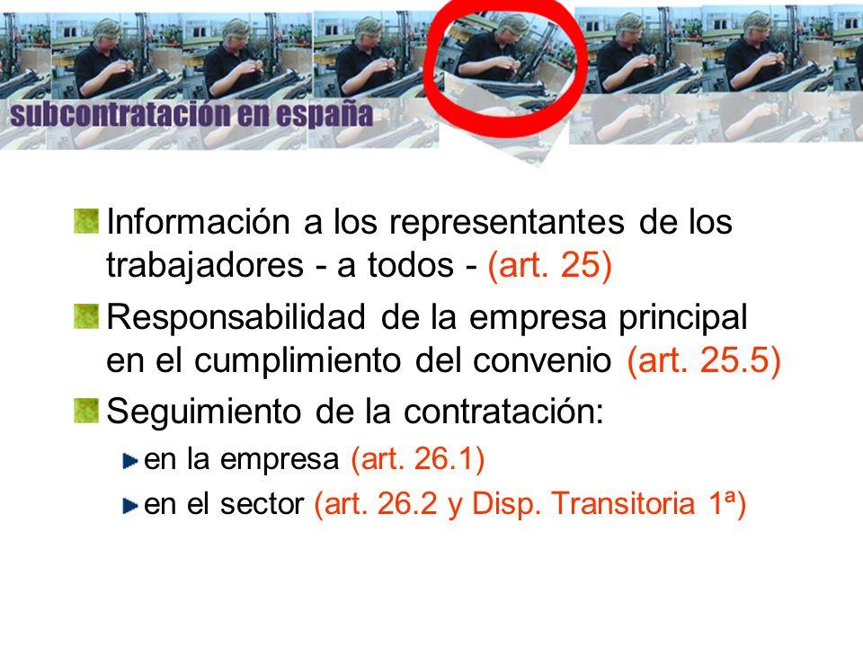 Información a los representantes de los trabajadores - a todos - (art. 25) Responsabilidad de la empresa principal en el cumplimiento del convenio (ar