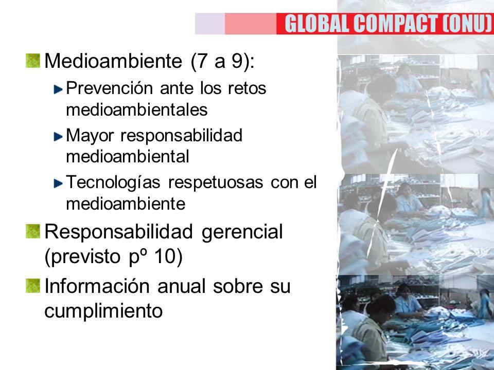 Medioambiente (7 a 9): Prevención ante los retos medioambientales Mayor responsabilidad medioambiental Tecnologías respetuosas con el medioambiente Re