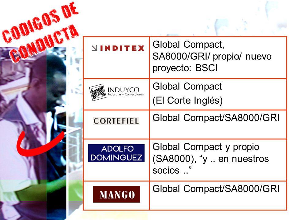 Global Compact, SA8000/GRI/ propio/ nuevo proyecto: BSCI Global Compact (El Corte Inglés) Global Compact/SA8000/GRI Global Compact y propio (SA8000),