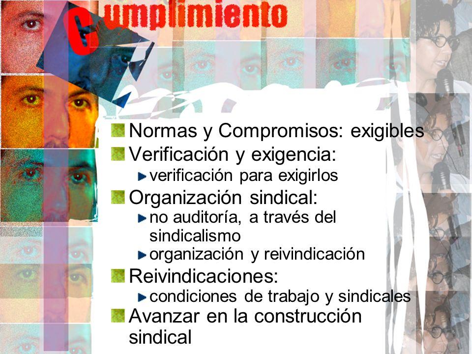 Normas y Compromisos: exigibles Verificación y exigencia: verificación para exigirlos Organización sindical: no auditoría, a través del sindicalismo o