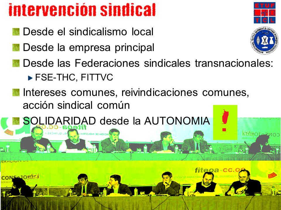 Desde el sindicalismo local Desde la empresa principal Desde las Federaciones sindicales transnacionales: FSE-THC, FITTVC Intereses comunes, reivindic