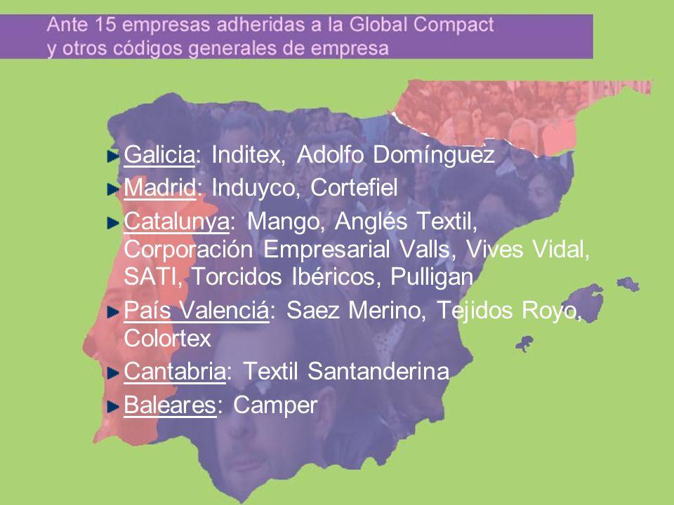 Galicia: Inditex, Adolfo Domínguez Madrid: Induyco, Cortefiel Catalunya: Mango, Anglés Textil, Corporación Empresarial Valls, Vives Vidal, SATI, Torci