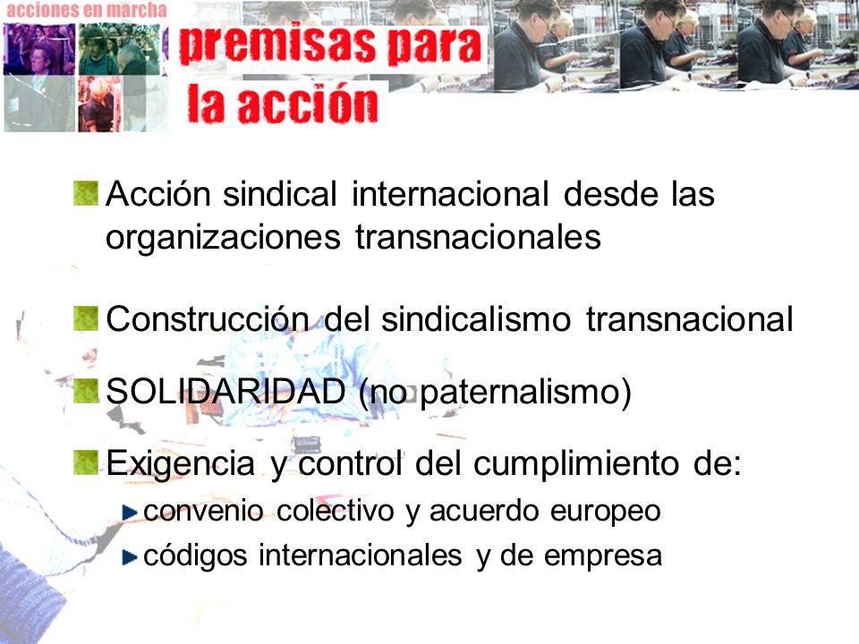 Acción sindical internacional desde las organizaciones transnacionales Construcción del sindicalismo transnacional SOLIDARIDAD (no paternalismo) Exige