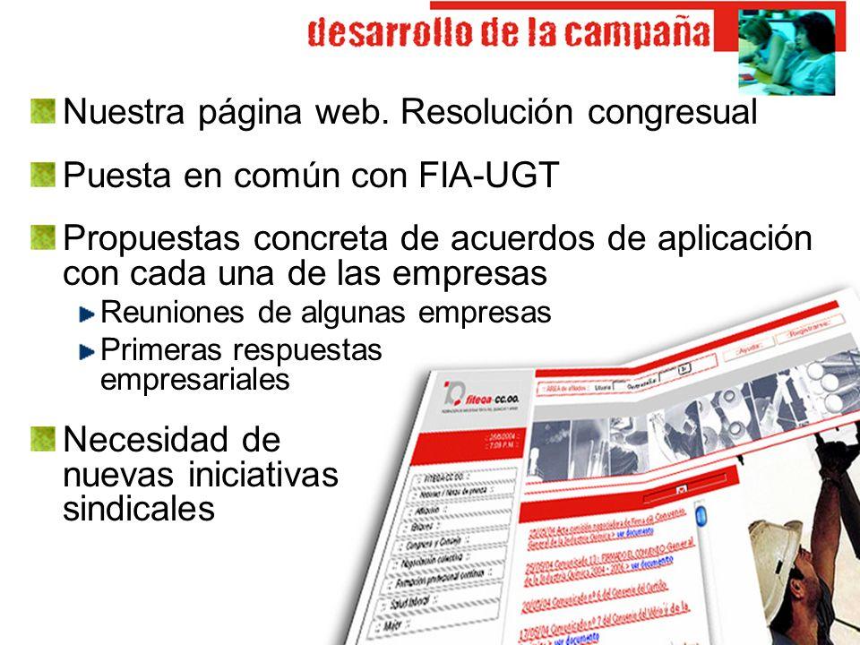 Nuestra página web. Resolución congresual Puesta en común con FIA-UGT Propuestas concreta de acuerdos de aplicación con cada una de las empresas Reuni