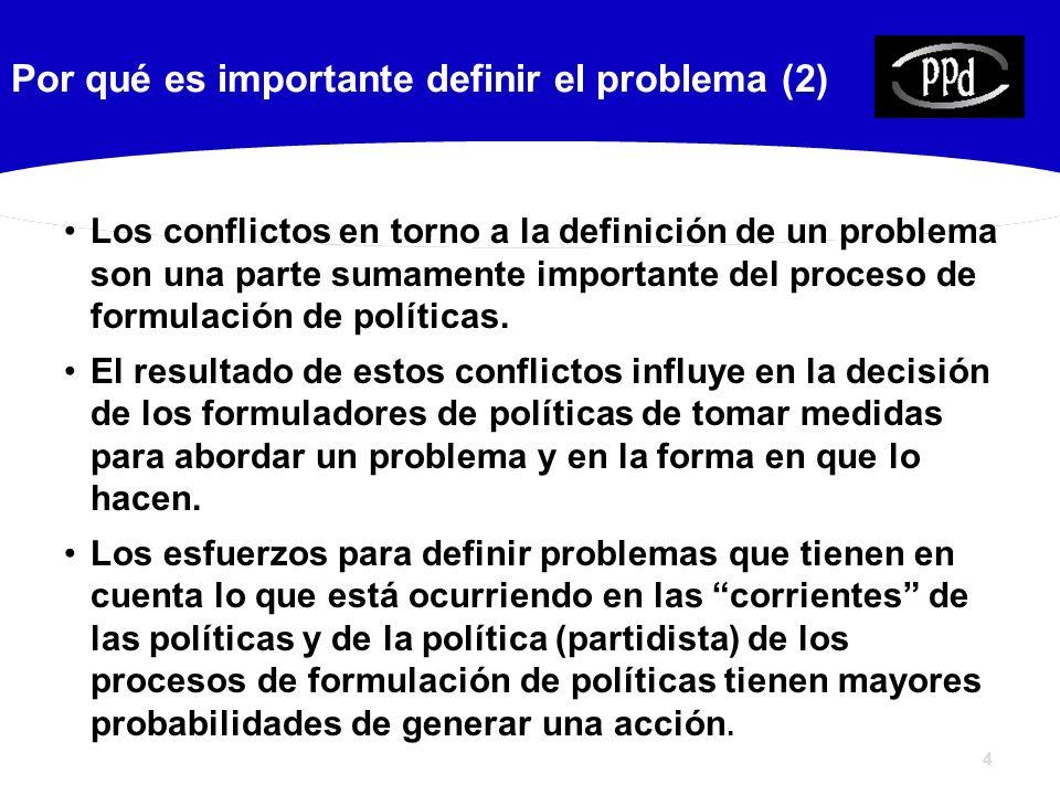 4 Por qué es importante definir el problema (2) Los conflictos en torno a la definición de un problema son una parte sumamente importante del proceso de formulación de políticas.