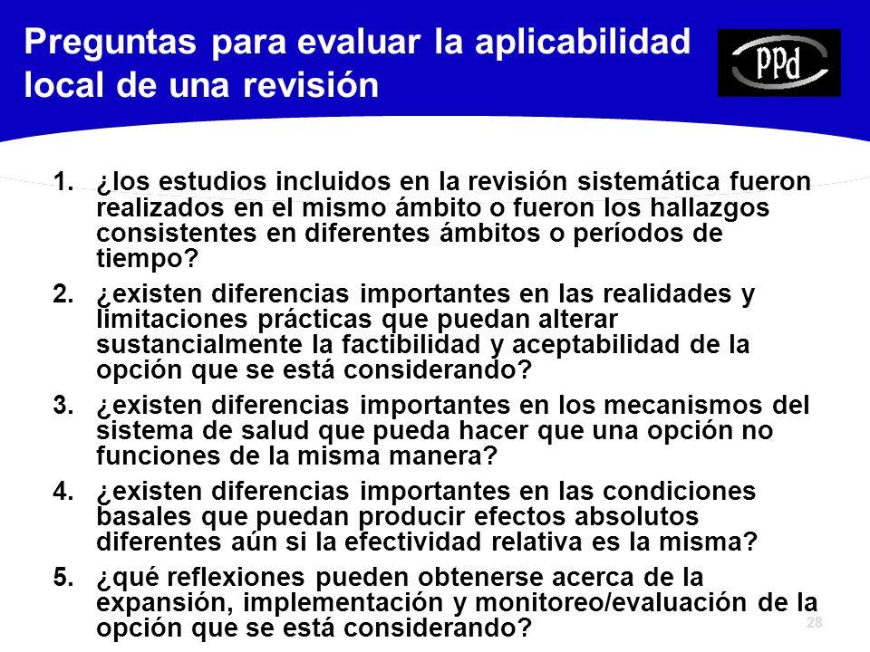 28 1.¿los estudios incluidos en la revisión sistemática fueron realizados en el mismo ámbito o fueron los hallazgos consistentes en diferentes ámbitos o períodos de tiempo.