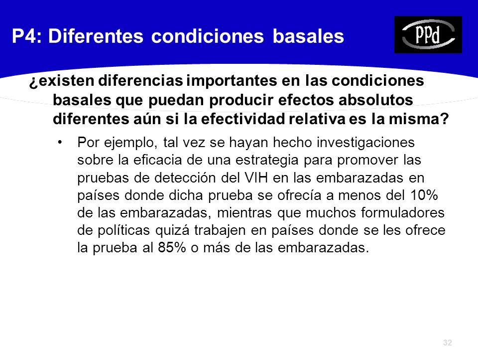 32 ¿existen diferencias importantes en las condiciones basales que puedan producir efectos absolutos diferentes aún si la efectividad relativa es la misma.