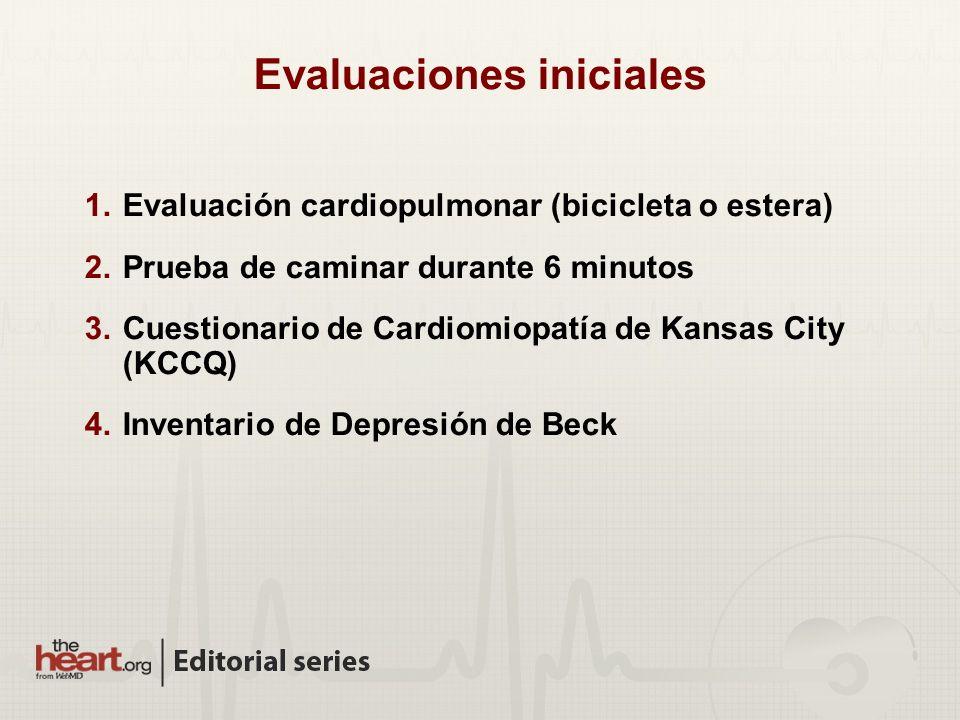 Evaluaciones iniciales 1.Evaluación cardiopulmonar (bicicleta o estera) 2.Prueba de caminar durante 6 minutos 3.Cuestionario de Cardiomiopatía de Kansas City (KCCQ) 4.Inventario de Depresión de Beck