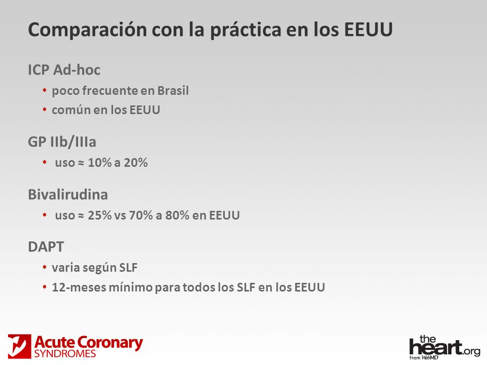 Comparación con la práctica en los EEUU ICP Ad-hoc poco frecuente en Brasil común en los EEUU GP IIb/IIIa uso 10% a 20% Bivalirudina uso 25% vs 70% a