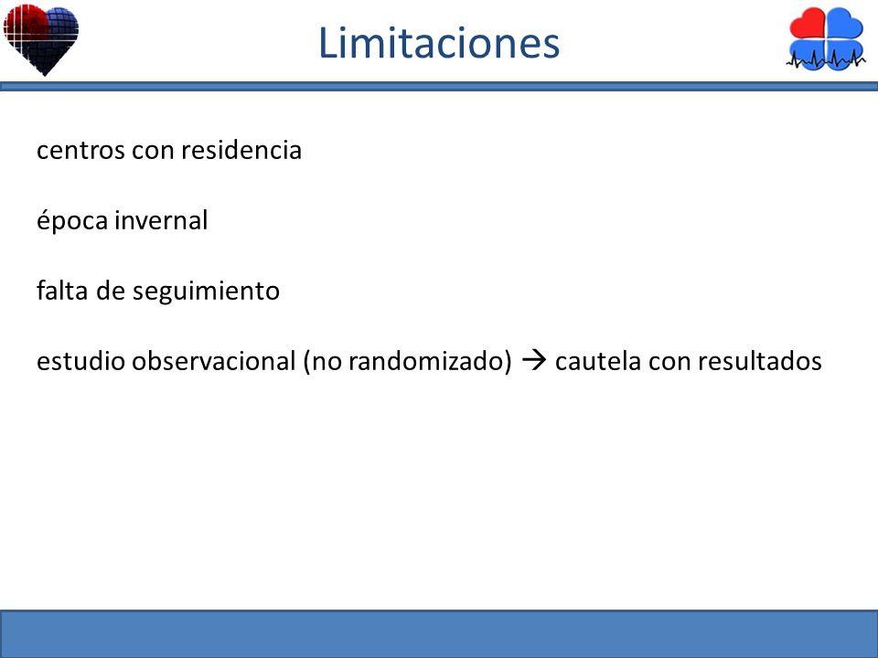 centros con residencia época invernal falta de seguimiento estudio observacional (no randomizado) cautela con resultados Limitaciones