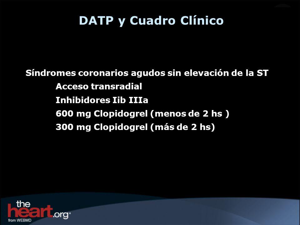 DATP y Cuadro Clínico Síndromes coronarios agudos sin elevación de la ST Acceso transradial Inhibidores Iib IIIa 600 mg Clopidogrel (menos de 2 hs ) 3
