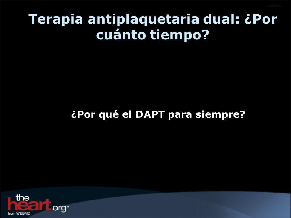 Terapia antiplaquetaria dual: ¿Por cuánto tiempo? ¿Por qué el DAPT para siempre?