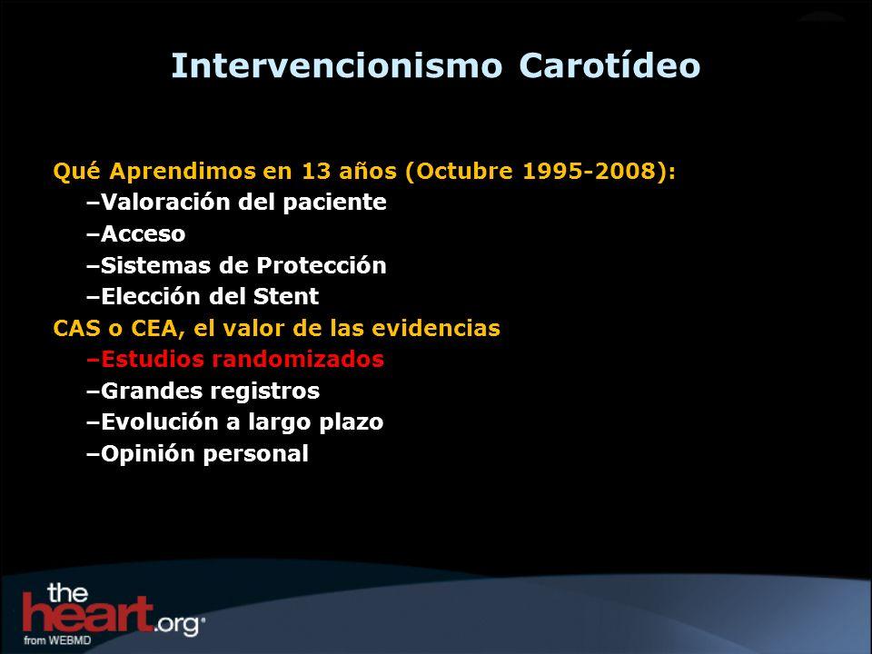 Qué Aprendimos en 13 años (Octubre 1995-2008): –Valoración del paciente –Acceso –Sistemas de Protección –Elección del Stent CAS o CEA, el valor de las