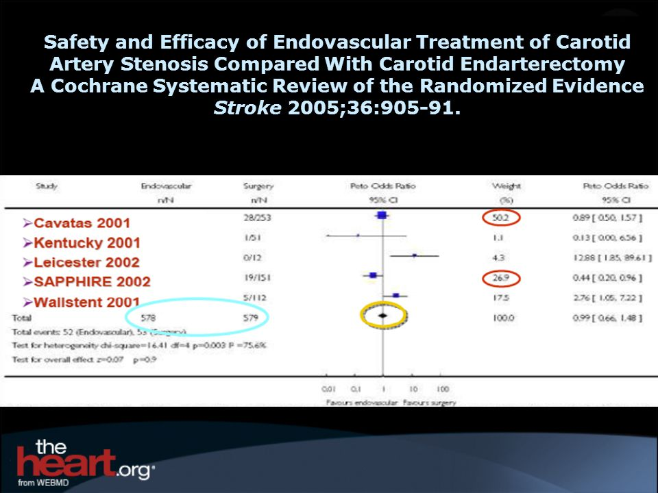 Safety and Efficacy of Endovascular Treatment of Carotid Artery Stenosis Compared With Carotid Endarterectomy A Cochrane Systematic Review of the Rand