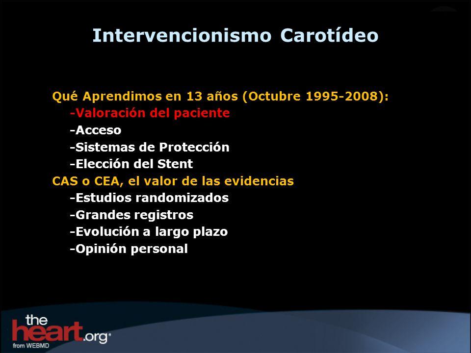 Intervencionismo Carotídeo Qué Aprendimos en 13 años (Octubre 1995-2008): -Valoración del paciente -Acceso -Sistemas de Protección -Elección del Stent