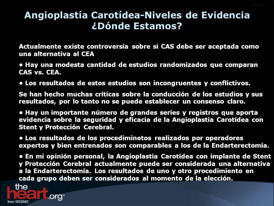 Angioplastía Carotídea-Niveles de Evidencia ¿Dónde Estamos? Actualmente existe controversia sobre si CAS debe ser aceptada como una alternativa al CEA