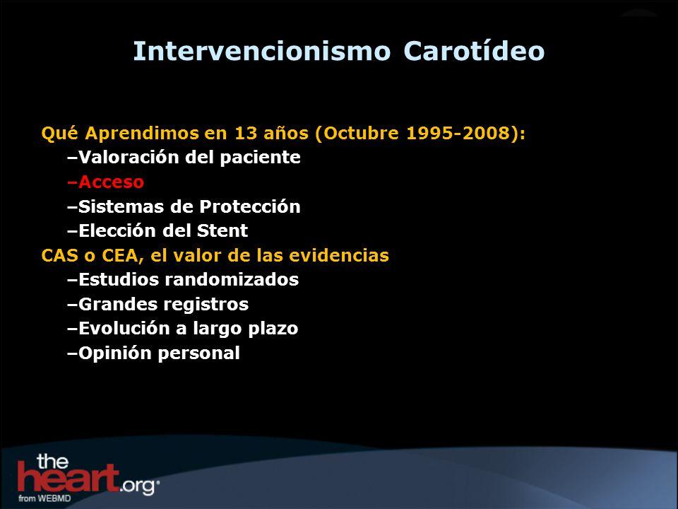 Intervencionismo Carotídeo Qué Aprendimos en 13 años (Octubre 1995-2008): –Valoración del paciente –Acceso –Sistemas de Protección –Elección del Stent
