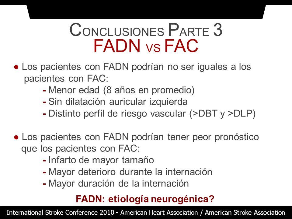 C ONCLUSIONES P ARTE 3 FADN VS FAC Los pacientes con FADN podrían no ser iguales a los pacientes con FAC: - Menor edad (8 años en promedio) - Sin dila