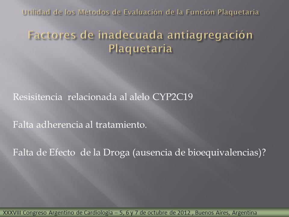 Resisitencia relacionada al alelo CYP2C19 Falta adherencia al tratamiento. Falta de Efecto de la Droga (ausencia de bioequivalencias)? XXXVIII Congres
