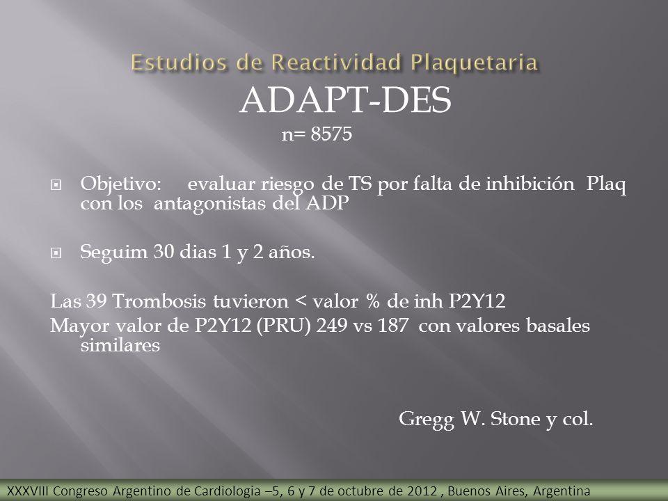 ADAPT-DES n= 8575 Objetivo: evaluar riesgo de TS por falta de inhibición Plaq con los antagonistas del ADP Seguim 30 dias 1 y 2 años. Las 39 Trombosis