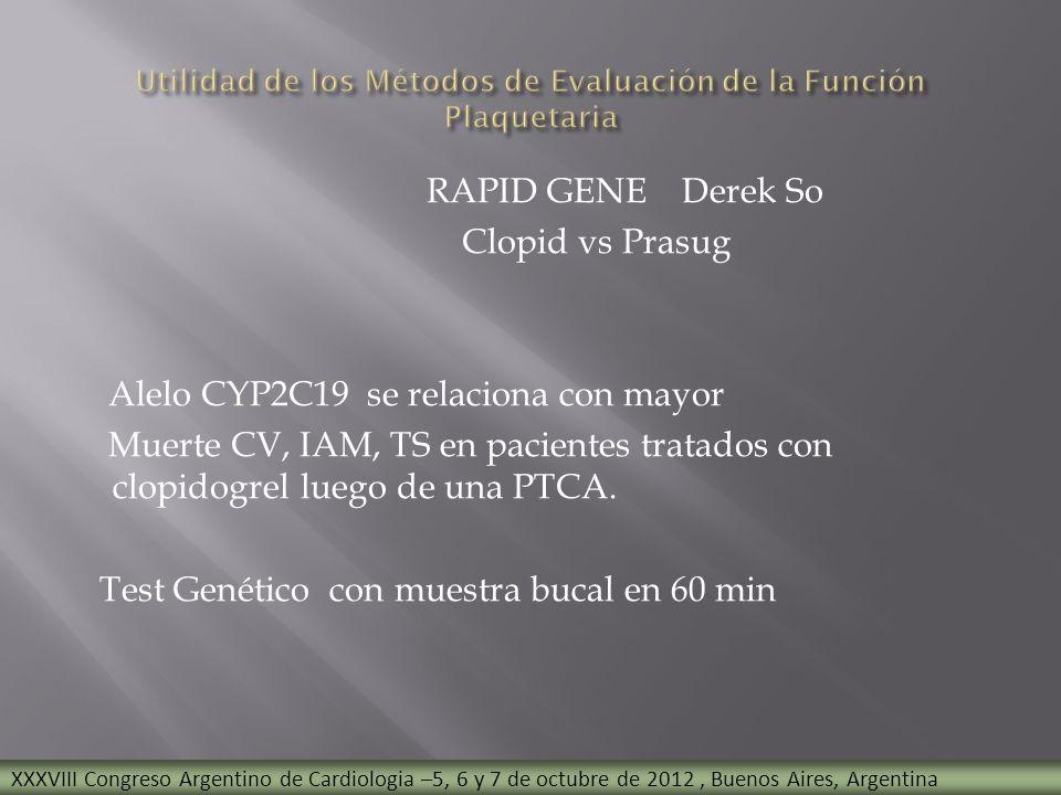 RAPID GENE Derek So Clopid vs Prasug Alelo CYP2C19 se relaciona con mayor Muerte CV, IAM, TS en pacientes tratados con clopidogrel luego de una PTCA.