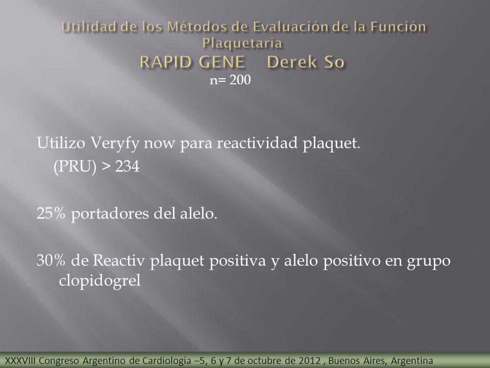 n= 200 Utilizo Veryfy now para reactividad plaquet. (PRU) > 234 25% portadores del alelo. 30% de Reactiv plaquet positiva y alelo positivo en grupo cl