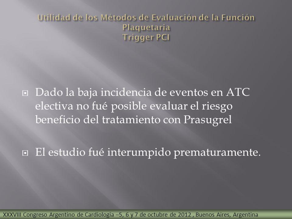 Dado la baja incidencia de eventos en ATC electiva no fué posible evaluar el riesgo beneficio del tratamiento con Prasugrel El estudio fué interumpido