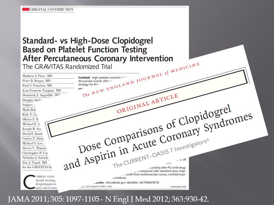 JAMA 2011; 305: 1097-1105 - N Engl J Med 2012; 363:930-42.