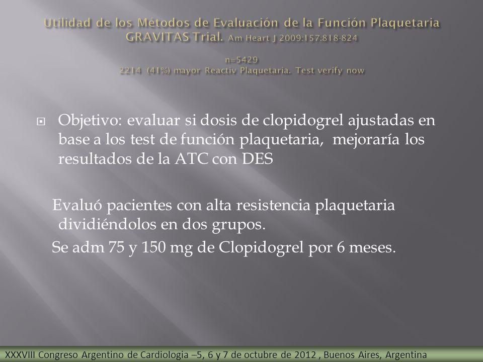 Objetivo: evaluar si dosis de clopidogrel ajustadas en base a los test de función plaquetaria, mejoraría los resultados de la ATC con DES Evaluó pacie