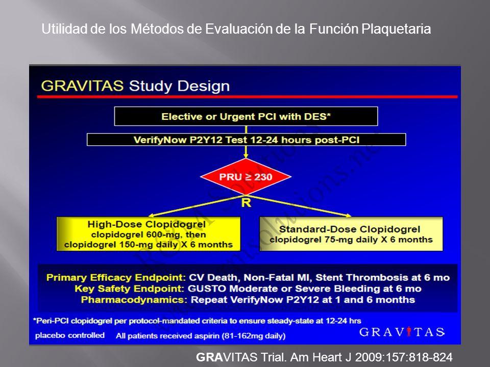 Utilidad de los Métodos de Evaluación de la Función Plaquetaria GRAVITAS Trial. Am Heart J 2009:157:818-824