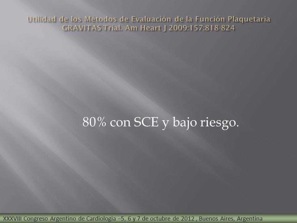 80% con SCE y bajo riesgo. XXXVIII Congreso Argentino de Cardiologia –5, 6 y 7 de octubre de 2012, Buenos Aires, Argentina