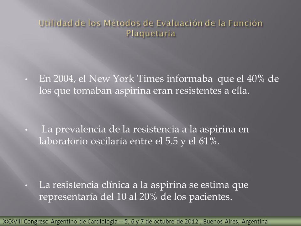 En 2004, el New York Times informaba que el 40% de los que tomaban aspirina eran resistentes a ella. La prevalencia de la resistencia a la aspirina en