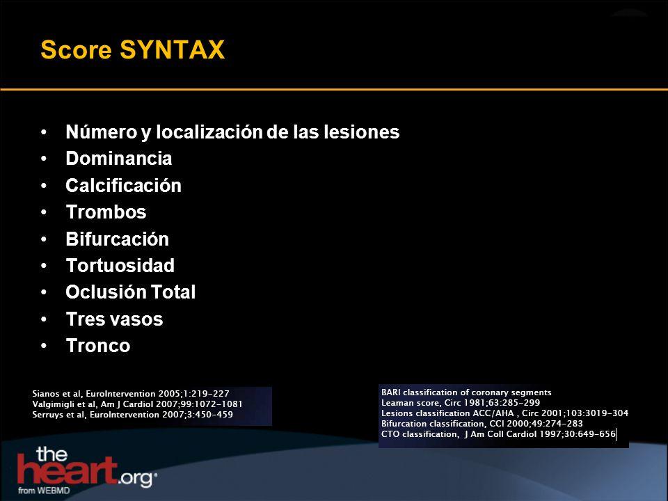Score SYNTAX Número y localización de las lesiones Dominancia Calcificación Trombos Bifurcación Tortuosidad Oclusión Total Tres vasos Tronco