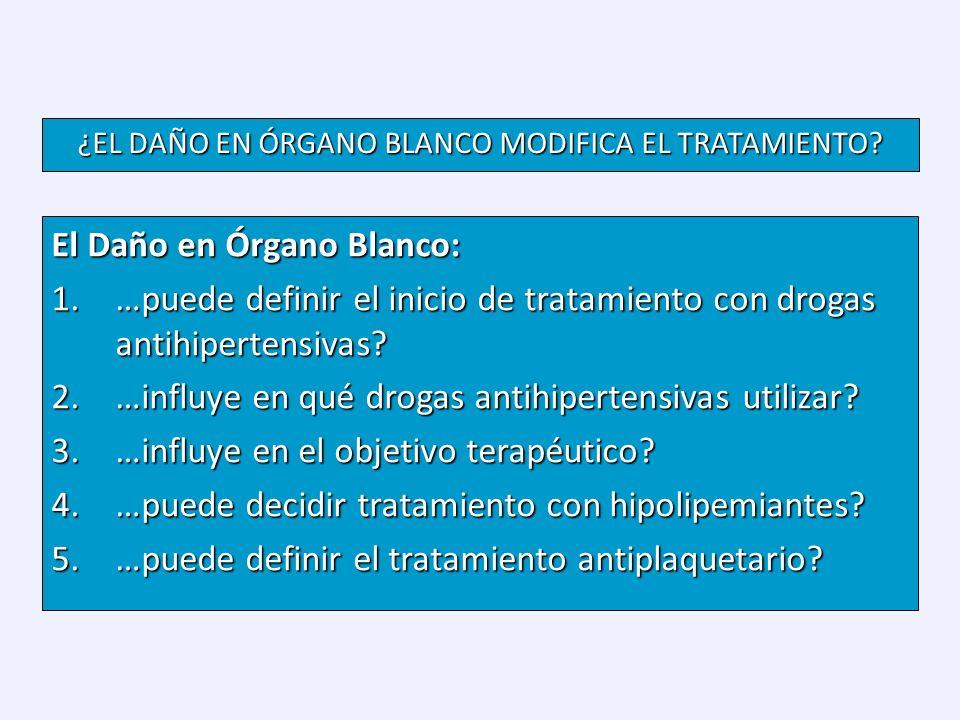 El Daño en Órgano Blanco: 1.…puede definir el inicio de tratamiento con drogas antihipertensivas? 2.…influye en qué drogas antihipertensivas utilizar?