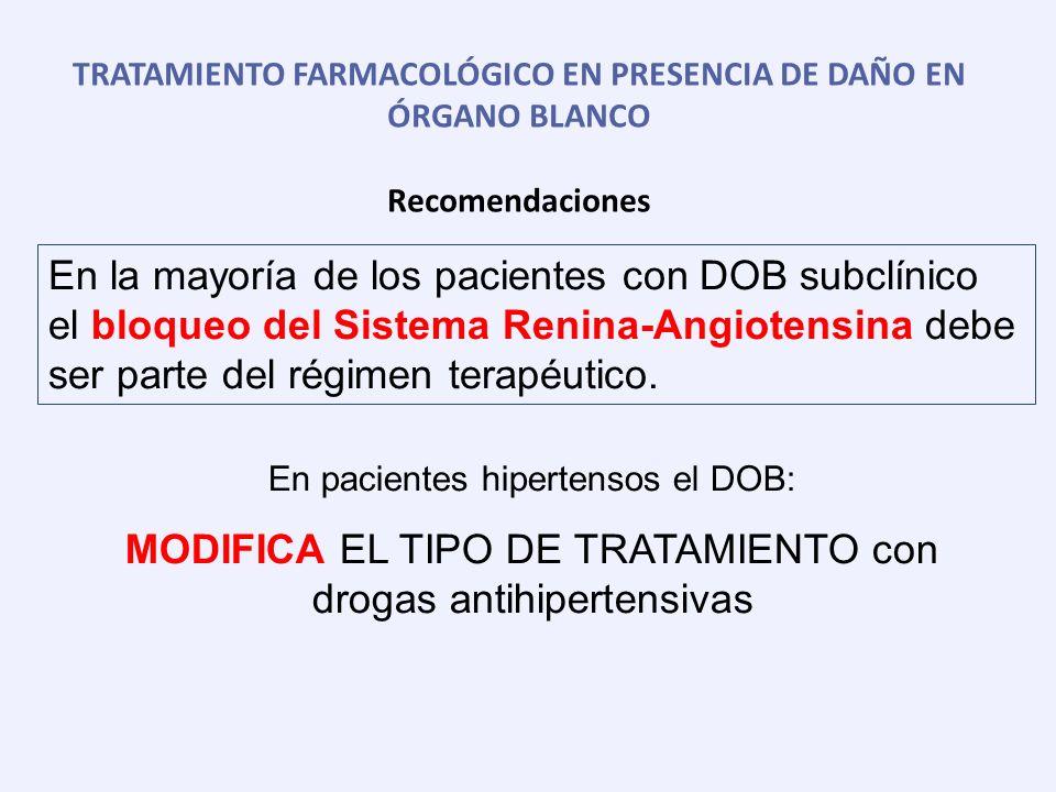 OBJETIVO TERAPÉUTICO EN PRESENCIA DE DAÑO EN ÓRGANO BLANCO Recomendaciones La PA debe reducirse a menos de 140/90 mmHg en todos los pacientes hipertensos (no ancianos) de bajo, moderado y alto riesgo.
