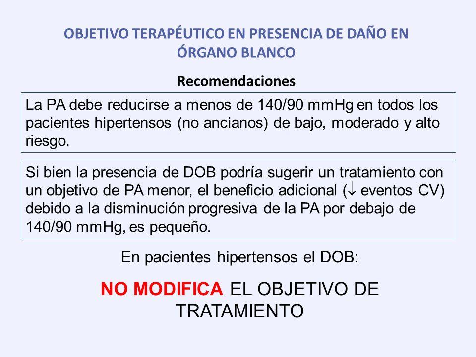 OBJETIVO TERAPÉUTICO EN PRESENCIA DE DAÑO EN ÓRGANO BLANCO Recomendaciones La PA debe reducirse a menos de 140/90 mmHg en todos los pacientes hiperten