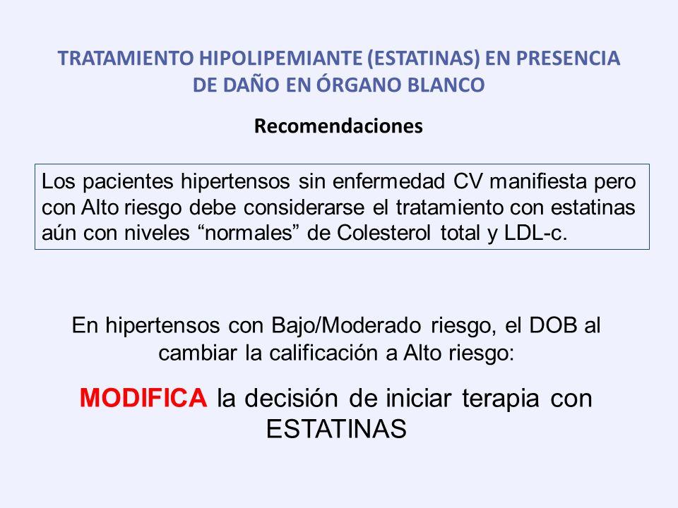 TRATAMIENTO HIPOLIPEMIANTE (ESTATINAS) EN PRESENCIA DE DAÑO EN ÓRGANO BLANCO Recomendaciones En hipertensos con Bajo/Moderado riesgo, el DOB al cambia