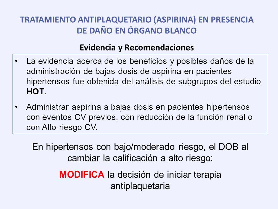 TRATAMIENTO ANTIPLAQUETARIO (ASPIRINA) EN PRESENCIA DE DAÑO EN ÓRGANO BLANCO Evidencia y Recomendaciones La evidencia acerca de los beneficios y posib
