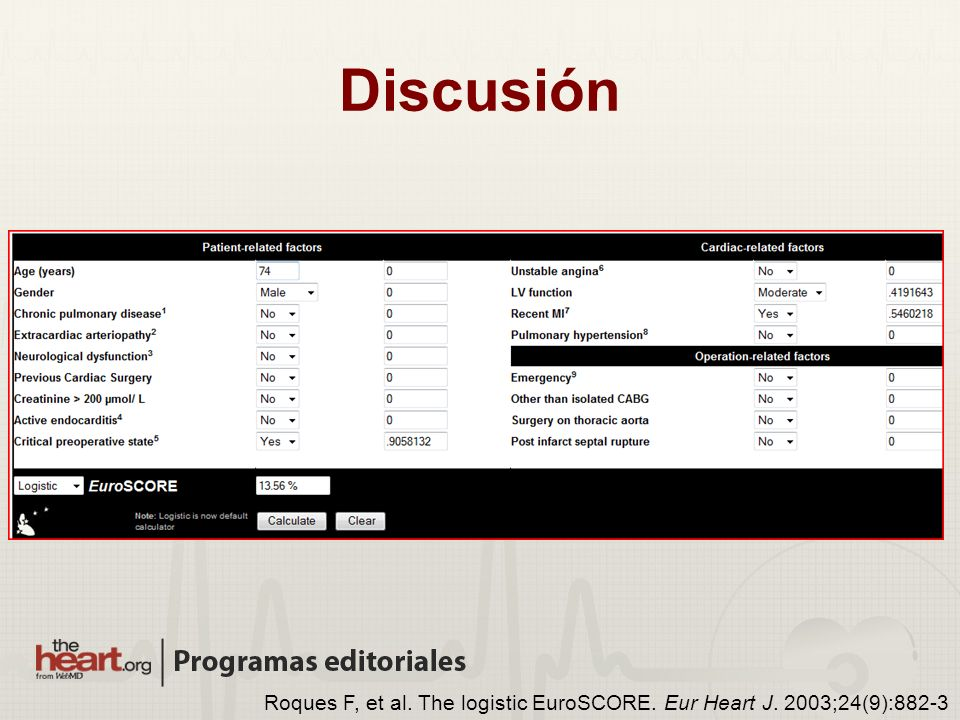 Roques F, et al. The logistic EuroSCORE. Eur Heart J. 2003;24(9):882-3 Discusión